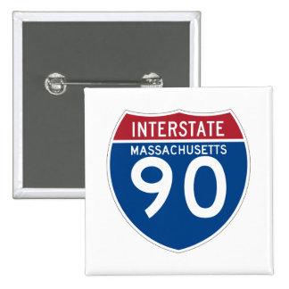 Massachusetts MA I-90 Interstate Highway Shield - 15 Cm Square Badge