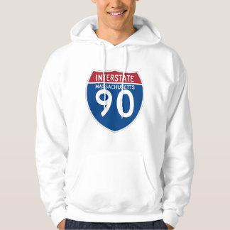 Massachusetts MA I-90 Interstate Highway Shield - Hoodie