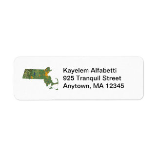 Massachusetts Map Return Address Label