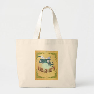 Massachusetts Map With Lovely Birds Large Tote Bag