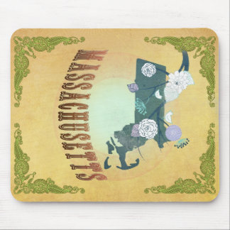 Massachusetts Map With Lovely Birds Mouse Pad