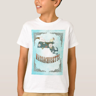 Massachusetts Map With Lovely Birds Tee Shirts