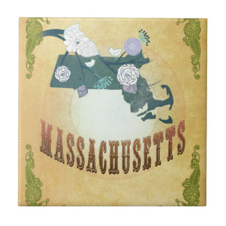 Massachusetts Map With Lovely Birds Tile
