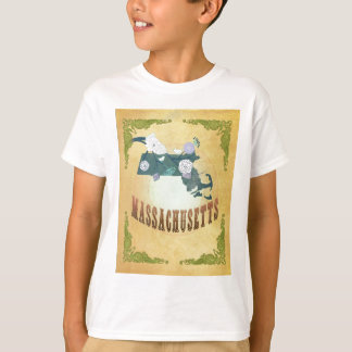 Massachusetts Map With Lovely Birds Tshirts