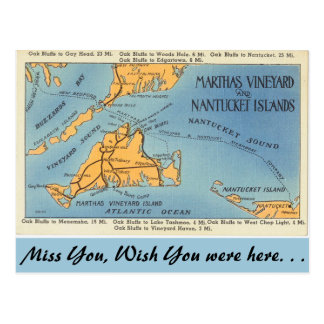 Massachusetts Marthas Vineyard, Nantucket Islands Postcard