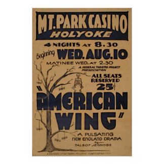 Massachusetts Mountain Park Casino Play Vintage Poster