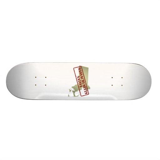 Massachusetts Native Stamped on Map Skate Board Deck