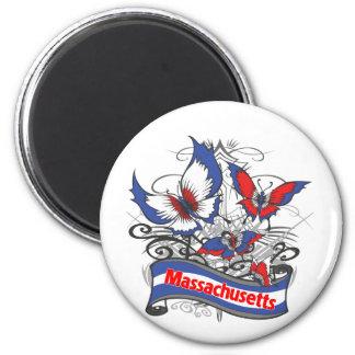 Massachusetts Patriotism Butterfly 6 Cm Round Magnet