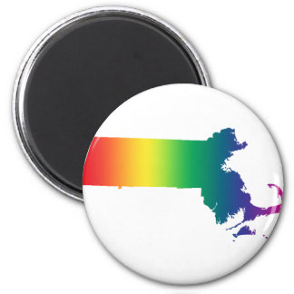 Massachusetts Rainbow Gay Pride Equality 6 Cm Round Magnet