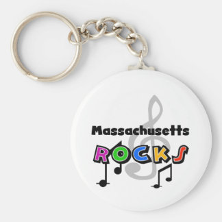 Massachusetts Rocks Basic Round Button Key Ring