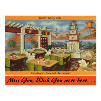 Massachusetts, Ruby Foo's Restaurant, China Town Postcard