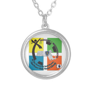 MASSACHUSETTS STATE MOTTO GEOCACHER SILVER PLATED NECKLACE