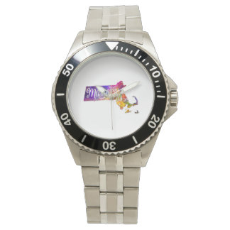 Massachusetts U.S. State in watercolor text cut Wrist Watch