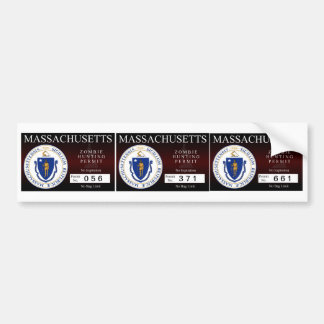 Massachusetts Zombie Hunting Permit Bumper Sticker