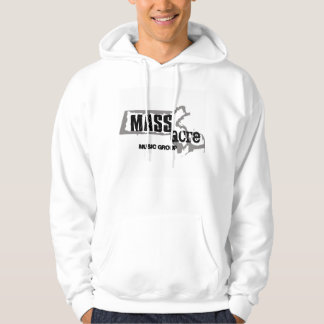 MASSacre Logo on a light hoodie