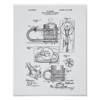 Massage Apparatus 1900 Patent Art White Paper Poster