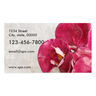 Massage spa salts, oil, orchids and candle pack of standard business cards