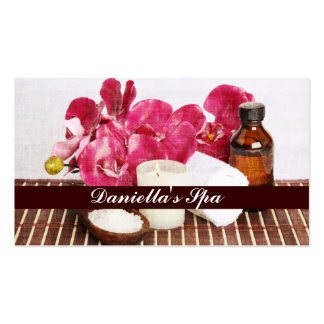Massage spa salts, oil, towel and candle business card templates