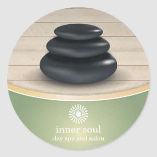 Massage Stones on Wood Spa Sage Green Classic Round Sticker