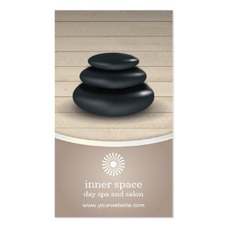Massage Stones on Wood Spa Taupe Appointment Pack Of Standard Business Cards
