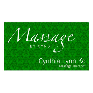 Massage Text on Green Damask Business Cards