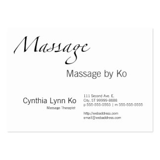 Massage Text Pack Of Chubby Business Cards