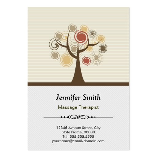 Massage Therapist Appointment - Elegant Natural Business Card Templates
