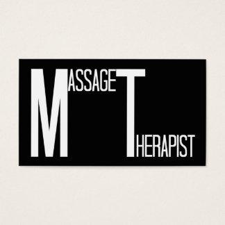 Massage Therapist Black Simple Business Card