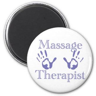 Massage Therapist: Blue Hand Prints 6 Cm Round Magnet