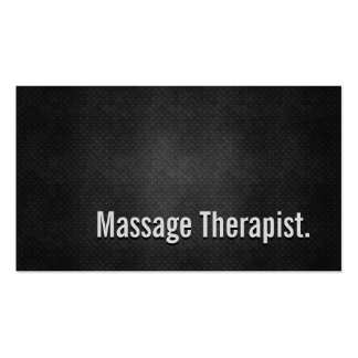 Massage Therapist Cool Black Metal Simplicity Pack Of Standard Business Cards