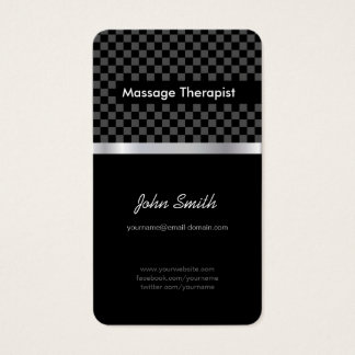 Massage Therapist - Elegant Black Checkered Business Card