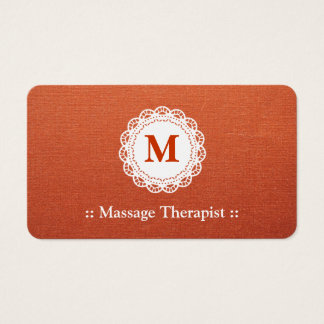 Massage Therapist Elegant Lace Monogram Business Card
