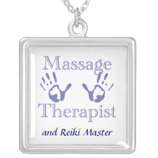 Massage Therapist Hand Prints Silver Plated Necklace