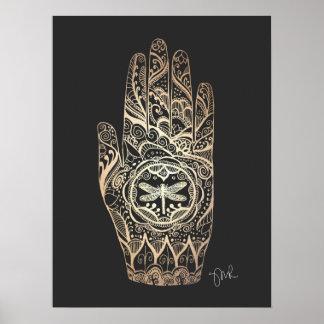 Massage Therapist Henna Dragonfly Tattoo Hand 4 Poster