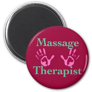 Massage therapist: Pink hand prints 6 Cm Round Magnet
