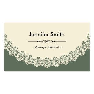 Massage Therapist - Retro Chic Lace Business Cards