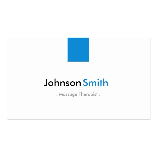 Massage Therapist - Simple Aqua Blue Business Card Templates