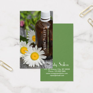 Massage Therapy Daisy Essential Oil Aromatherapy Business Card