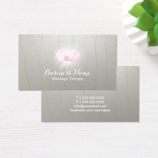 Massage Therapy Glowing Lotus Salon Spa Vintage Business Card