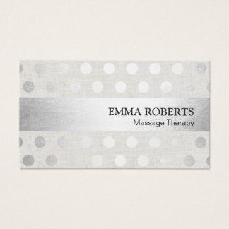 Massage Therapy Modern Silver Dots Faux Linen Business Card