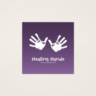 Massage therapy - purple square business card