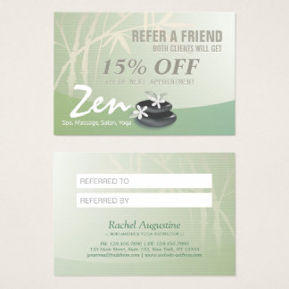 Massage Therapy YOGA SPA Salon Referral Discount Business Card
