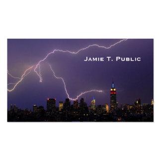 Massive Lightning Strike On Midtown NYC Skyline #3 Pack Of Standard Business Cards
