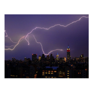 Massive Lightning Strike Over Midtown NYC Skyline Postcard