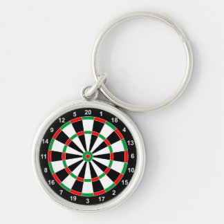 Master Darts Board Basic Round Target Classic game Silver-Colored Round Key Ring