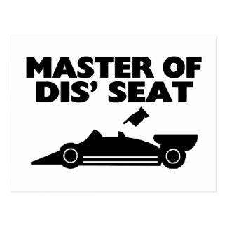 Master Of Dis Seat Race Car Post Cards