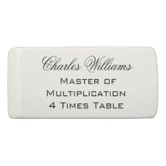 Master of Multiplication 4 Times Table Congrats Eraser