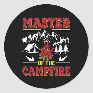 Master Of The Campfire Funny Camping Shirt Classic Round Sticker