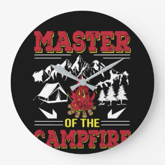 Master Of The Campfire Funny Camping Shirt Large Clock