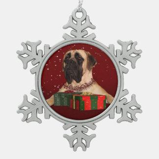 Mastiff Christmas Snowflake Pewter Christmas Ornament